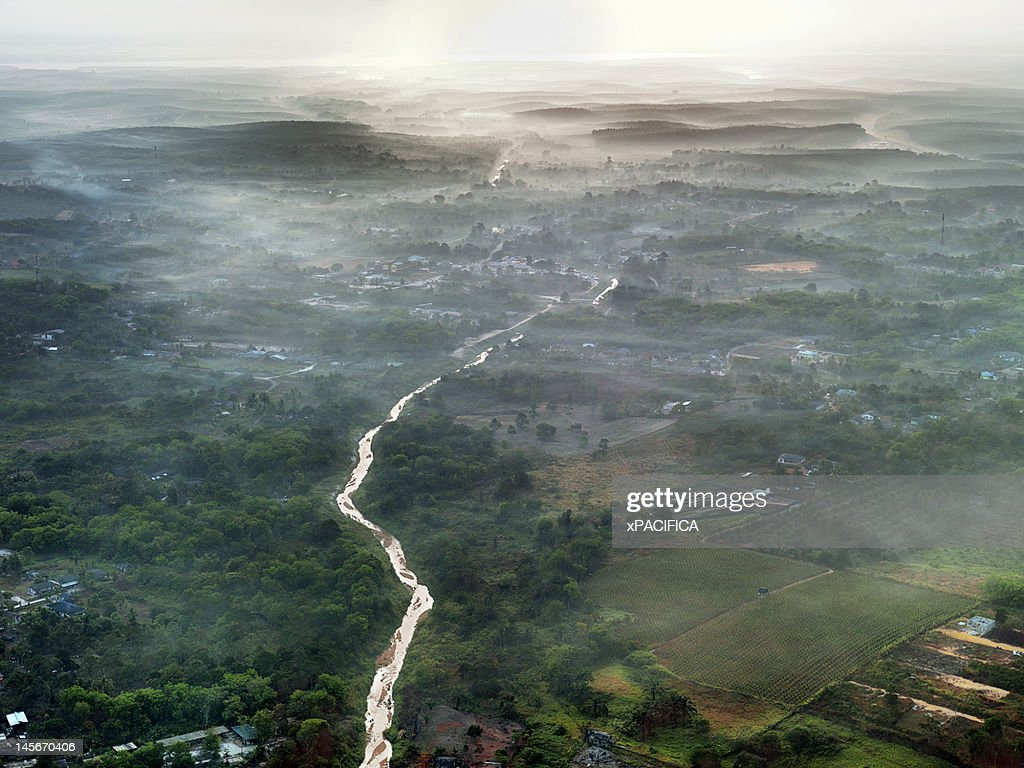 An aerial morning view of Johor : Stock Photo