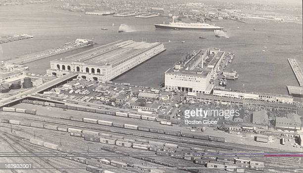 An aerial of Boston harbor including Fish Pier right on Sept 30 1966
