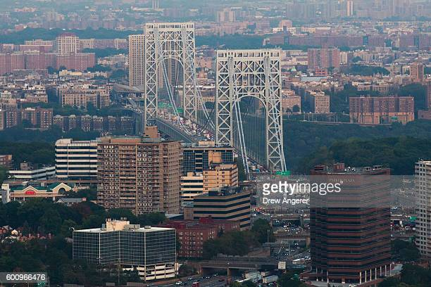 An aerial of the George Washington Bridge September 8 2016 in New York City New York City is preparing to mark the 15th anniversary of the September...