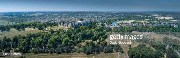 BERKSHIRE ENGLAND An aerial Panoramic view of the Royal Castle and town of Windsor located on the southern banks of the River Thames between Slough...
