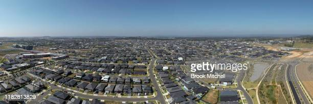 An aerial panoramic view of the sprawling new housing estates of Oran Park on October 23 2019 in Sydney Australia The local Government area of Camden...