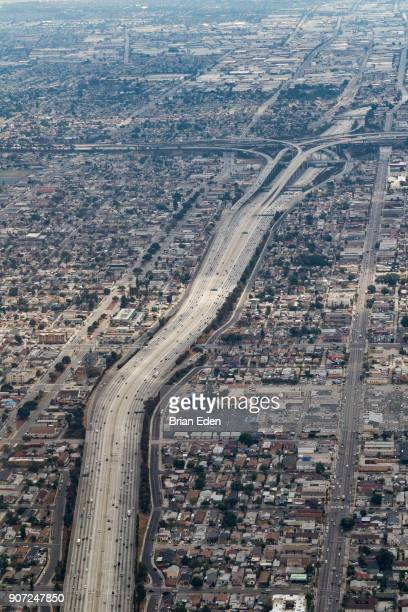An aerial photo of a freeway in Los Angeles, California