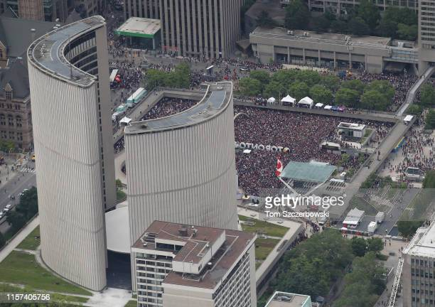An aerial photo of fans as they gather at Nathan Phillips Square for the Toronto Raptors NBA Championship Victory Parade after defeating the Golden...