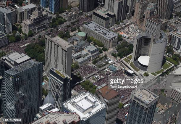An aerial photo of fans as they gather on University Avenue and at Nathan Phillips Square for the Toronto Raptors NBA Championship Victory Parade...