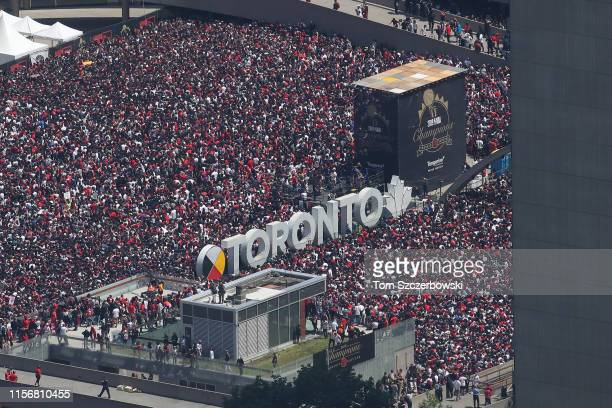 An aerial photo of fans who gather at Nathan Phillips Square for the Toronto Raptors NBA Championship Victory Parade after defeating the Golden State...