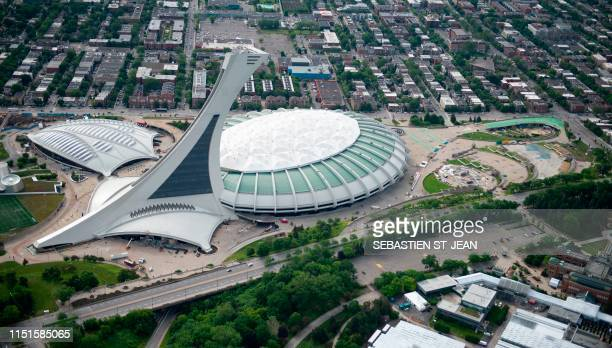 An aerial photo of Montreal Olympic Stadium is viewed on June 21, 2019 in Montreal, Quebec, Canada.