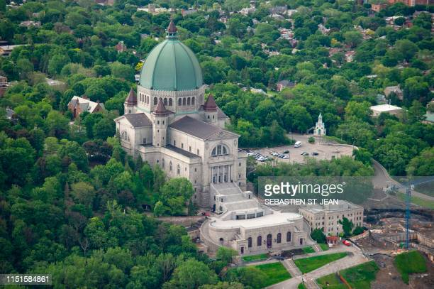 An aerial photo of Saint Joseph's Oratory is viewed on June 21 2019 in Montreal Quebec Canada