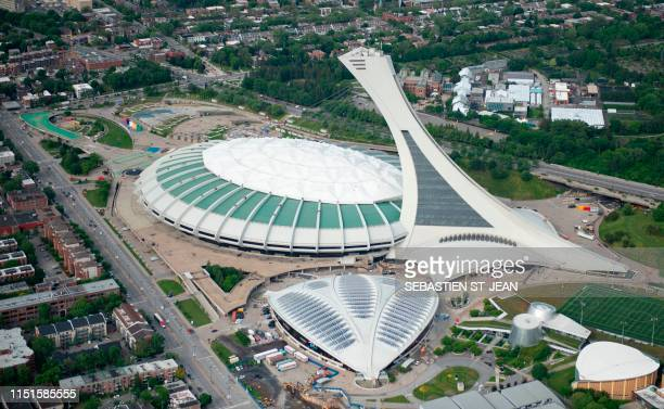 An aerial photo of the Montreal Olympic Stadium is viewed on June 21 2019 in Montreal Quebec Canada