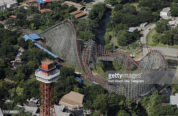 An aerial photo of the Texas Giant is shown a day after a woman fell to her death from the roller coaster at Six Flags Over Texas in Arlington Texas...