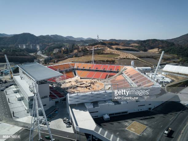 An aerial photo shows a general view of the Pyeongchang Olympic Stadium venue of the Pyeongchang 2018 Winter Olympic games in the town of Hoenggye on...