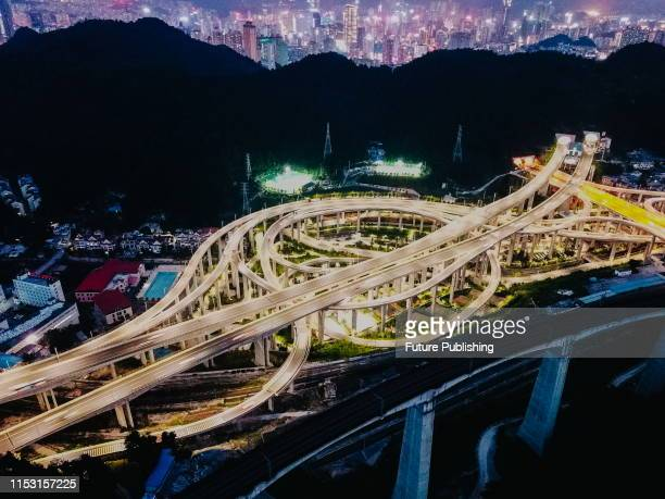 An aerial photo shows an overpass in guiyang, guizhou province, China, on July 1, 2019.PHOTOGRAPH BY Costfoto / Barcroft Media
