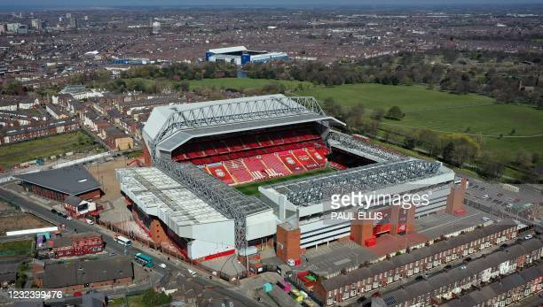 An aerial photo shows Anfield stadium, home of English Premier League football club Liverpool, in Liverpool, north west England on April 19, 2021. -...