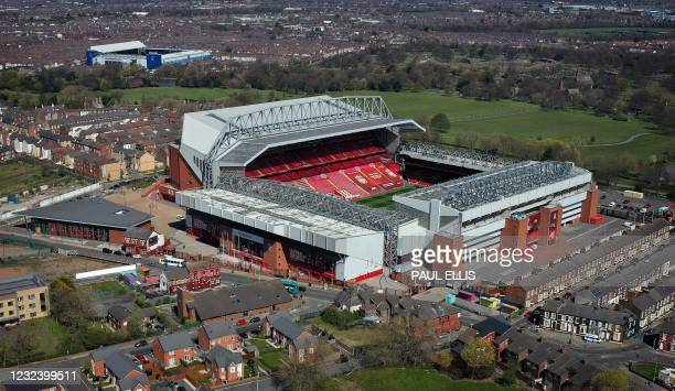 An aerial photo shows Anfield stadium , home of English Premier League football club Liverpool, and Goodison Park, home of Premier League club...