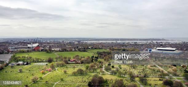 An aerial photo shows Anfield stadium , home of English Premier League football club Liverpool, and Goodison Park, home of Premier League club...
