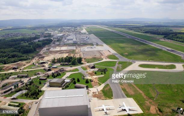 An aerial photo shows Germanys first lowfare airport FrankfurtHahn which is also the German base of budget airline Ryanair on May 17 2006 in...