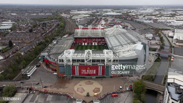 An aerial photo shows Old Trafford stadium, home of English Premier League football club Manchester United, in Manchester, north west England on...