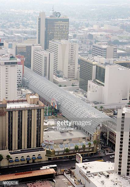 An aerial photo shows the canopy of the Fremont Street Experience in downtown Las Vegas October 19 2005 in Las Vegas Nevada