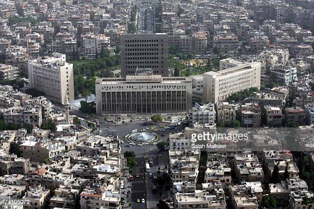 An aerial photo shows the central bank of Syria taken on May 07, 2007 over the city of Damascus, Syria.