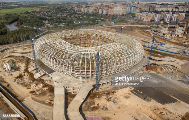 An aerial photo shows the construction site of the Mordovia Arena in Saransk on August 25 2017 Mordovia Arena will host several matches of the 2018...