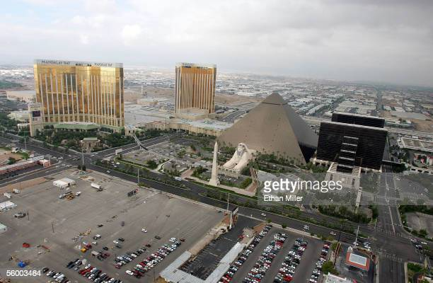 An aerial photo shows the Mandalay Bay Resort Casino and the Luxor Hotel and Casino October 19 2005 in Las Vegas Nevada