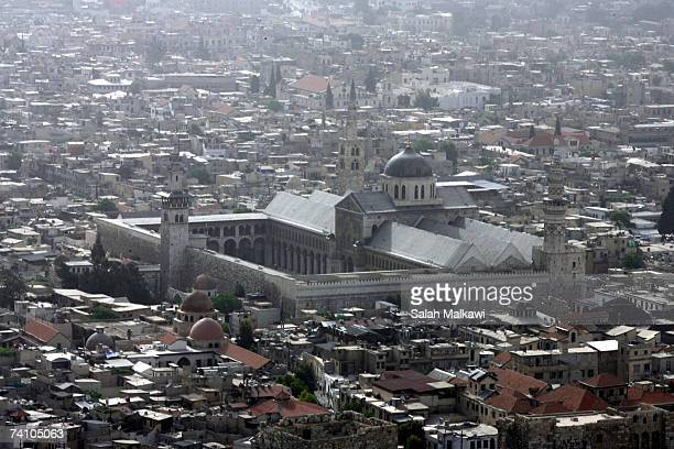 An aerial photo shows the Omayyad Mosque and the old city taken on May 07, 2007 over the city of Damascus, Syria.