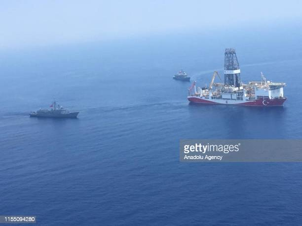 An aerial photo shows Turkish-flagged drill ship Yavuz' continue offshore drilling operations in company with Turkish battleships in the west of the...