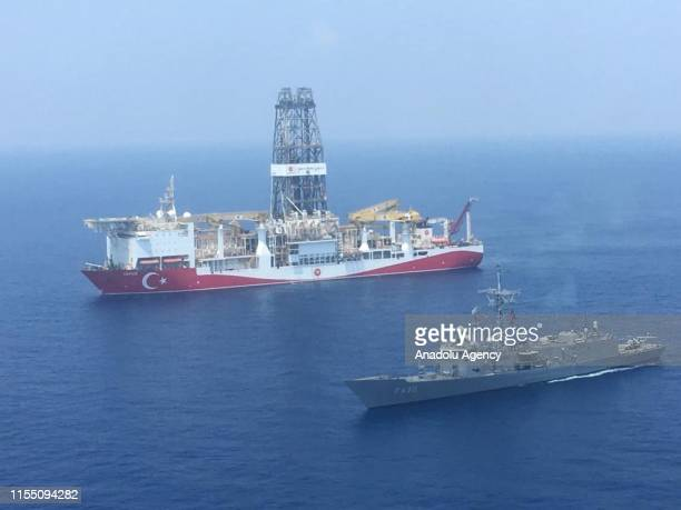 An aerial photo shows Turkish-flagged drill ship Yavuz' continue offshore drilling operations in company with Turkish battleship in the west of the...