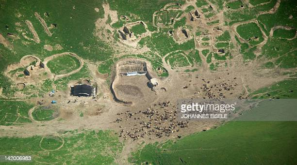 An aerial photo taken from a Blackhawk helicopter shows a flock of sheep on farmland near Baghlan on March 28 2012 Trying to recover from 30 years of...