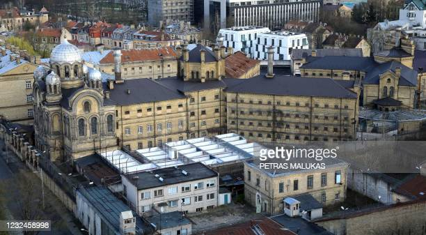 An aerial photo taken on April 21, 2021 shows the former Lukiskes prison in Vilnius. - Lithuania is searching for investors to redevelop a historic...