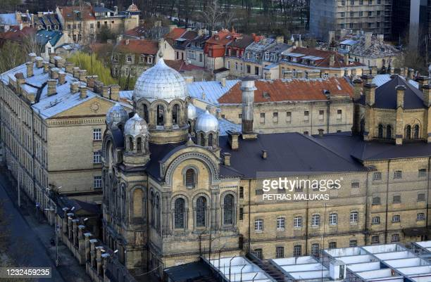An aerial photo taken on April 21, 2021 shows the former Lukiskes prison with Orthodox Church in Vilnius. - Lithuania is searching for investors to...