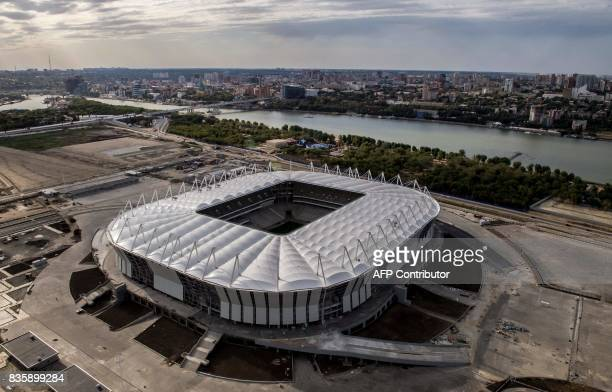 TOPSHOT An aerial photo taken on August 20 2017 shows the Rostov Arena in the Southern Russian city of RostovonDon Rostov Arena will host several...