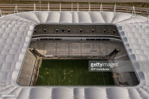 An aerial photo taken on August 20 2017 shows the Rostov Arena in the Southern Russian city of RostovonDon Rostov Arena will host several games...