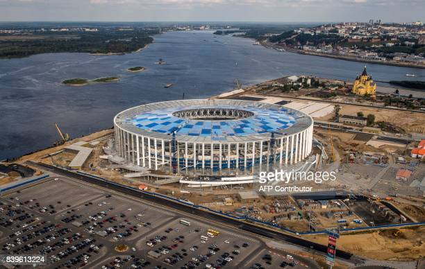 An aerial photo taken on August 26 2017 shows the Nizhny Novgorod Stadium Nizhny Novgorod Stadium will host several games of the FIFA World Cup 2018...