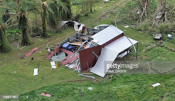 An aerial photo taken on February 3 2011 shows the aftermath of Cyclone Yasi at Mission Beach on February 3 2011 Smashed yachts lay stacked like...