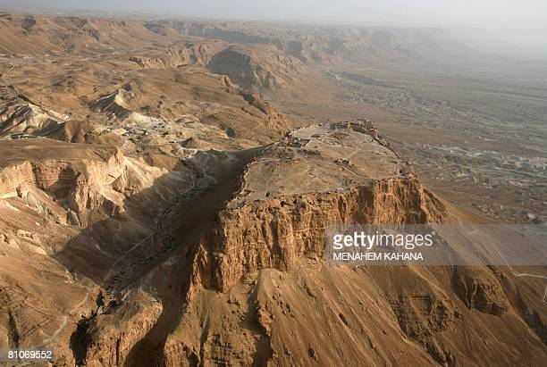 An aerial photo taken on May 13 2008 shows the ancient hilltop fortress of Masada in the Judean desert US President George W Bush will visit the...