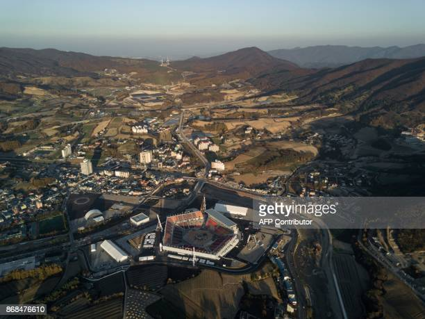 An aerial photo taken on October 30 2017 shows a general view of the Pyeongchang Olympic Stadium venue of the Pyeongchang 2018 Winter Olympic games...