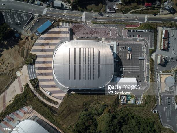 An aerial photo taken on October 30 2017 shows the Gangneung Ice Arena venue of the Pyeongchang 2018 Winter Olympic games in Gangneung / AFP PHOTO /...