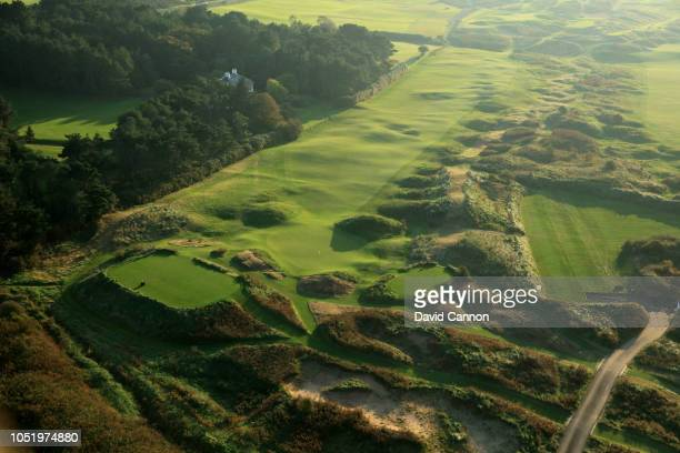 An aerial photograph from behind the green looking back to the tee on the par 4 fourth hole 'Fred Daly's' on the Dunluce Links at Royal Portrush Golf...