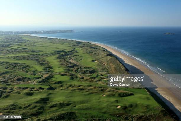An aerial photograph of a general view from above the fifth hole with the 6th 7th 8th 10th holes immediately behind and the beach running back to the...