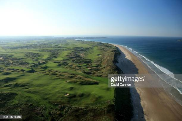 An aerial photograph of a general view from above the green on the par 4 fifth hole with the 6th 7th 8th and 10th holes immediately behind and the...