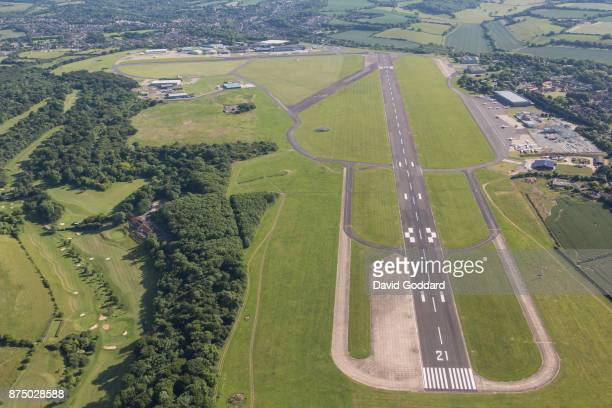 An aerial photograph of Biggin Hill Airport on June 14 2017 in Bromley England
