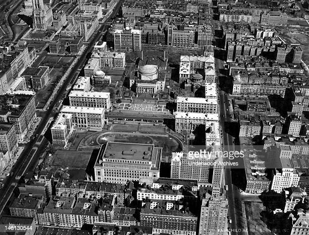 An aerial photograph of Columbia University New York New York mid 1930s Grant's Tomb is just visible at the very far upper left next to 'Fosdick's...