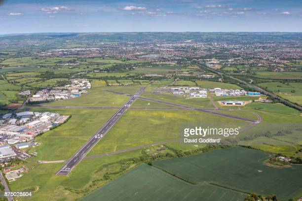 An Aerial photograph of Gloucestershire Airport on May 22 2017 in Cheltenham England