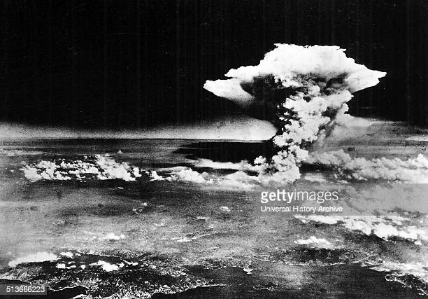 An aerial photograph of Hiroshima Japan shortly after the Little Boy atomic bomb was dropped Dated 1945