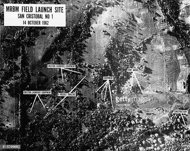 An aerial photograph of MRBM Field Launch Site No 1 in San Cristobal Cuba taken by US Intelligence forces during the Cuban Missile Crisis October 14...