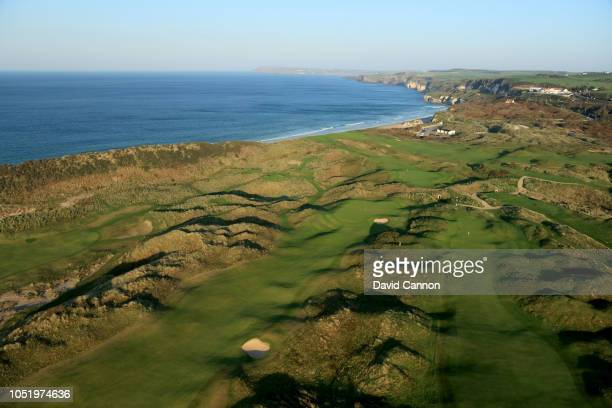 An aerial photograph of the approach to the greens on the par 4 eighth hole to the left and the par 4 10th hole to the right on the Dunluce Links at...