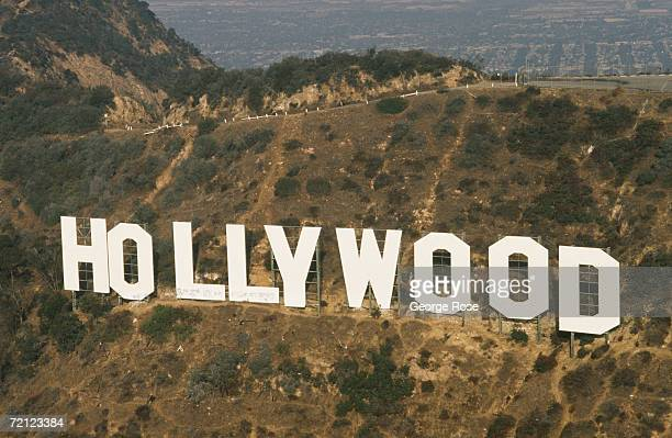 An aerial photograph of the famed Hollywood Sign taken in 1991 Hollywood, California. The deteriorating landmark was given a makeover by community...