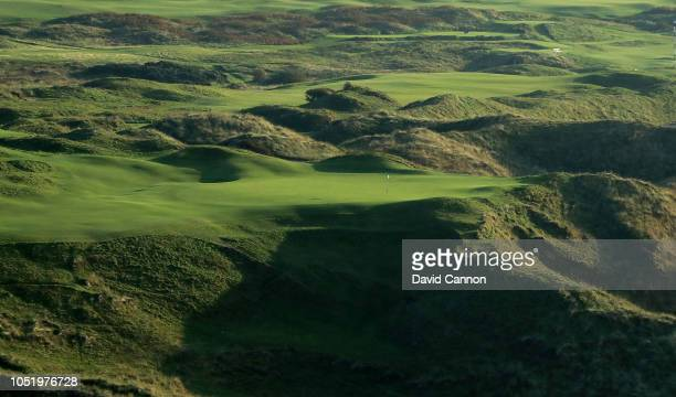 An aerial photograph of the green on the par 3, 16th hole 'Calamity Corner' on the Dunluce Links at Royal Portrush Golf Club the host venue for the...