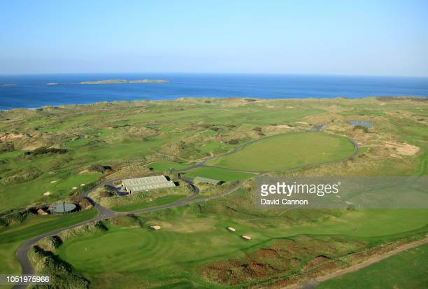 An aerial photograph of the green on the par 4, 18th hole 'Hughie's' on the Dunluce Links at Royal Portrush Golf Club the host venue for the 2019...