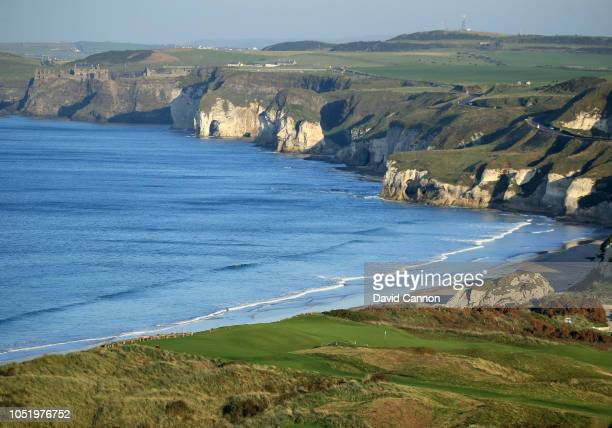 An aerial photograph of the green on the par 4 fifth hole 'White Rocks' on the Dunluce Links at Royal Portrush Golf Club the host venue for the 2019...